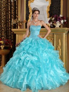 Aqua Blue Sweetheart Organza Quinceanera Dresses with Ruffles and Beading for Less