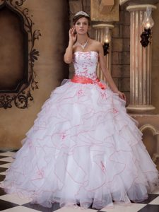 White Strapless Organza Ruffled Sweet 16 Dresses with Orange Embroidery and Sash