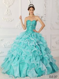 Ruffled and Appliqued Quince Gowns in Aqua Blue with Heart Shaped Neckline