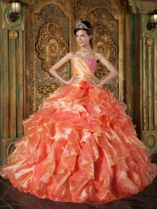 Ruffled and Beaded Organza Dress for Quinceanera with Strapless in Flamingo