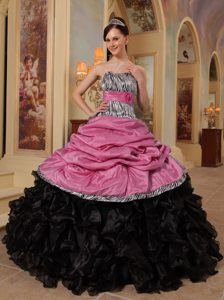 Pink and Black Ruffled Dresses for Quince with Pick-ups and Leopard in Taffeta