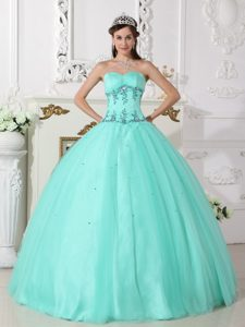 Sweetheart Floor-length Sweet Sixteen Dresses with Appliques in Apple Green