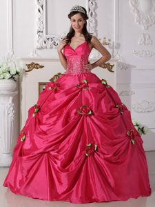 Spaghetti Straps Beaded Sweet Sixteen Dress with Handmade Flowers in Taffeta