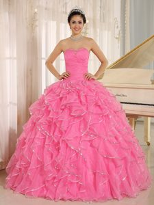 2013 Sweetheart Sweet Sixteen Dresses with Ruffles and Beadings in Rose Pink