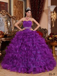 Eggplant Purple Sweetheart Ruched Organza Beaded Quinceanera Dress with Ruffles
