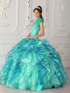 Turquoise One-shoulder Ball Gown Organza Beaded Quinceanera Dress with Ruffles