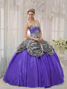 Sweetheart Zebra and Purple Taffeta Quinceanera Dress with Pick-ups and Appliques