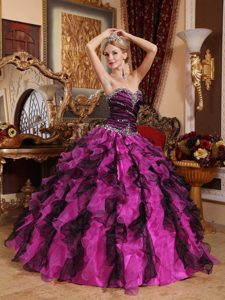 Best Multi-colored Sweetheart Organza Quinceanera Dress with Ruffles and Beading