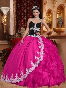 Discount V-neck Ruffled Long Sweet Sixteen Dresses in Hot Pink and Black