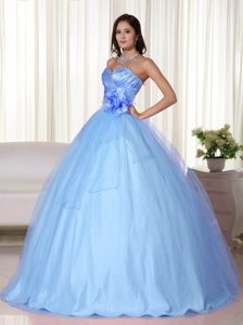 Sweetheart Tulle Beaded Light Blue Zipper-up New Dress for Quinceanera
