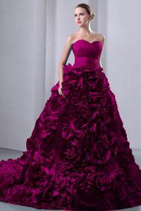Classical Fuchsia Princess Brush Train Taffeta Ruched Dresses for Quince