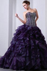 Popular Sweetheart Brush Train Ruffled Lace-up Sweet 16 Dress in Purple
