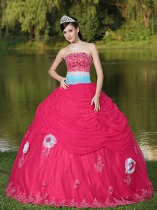 Exquisite Tulle Strapless Coral Red Lace-up Quince Dresses with Beading