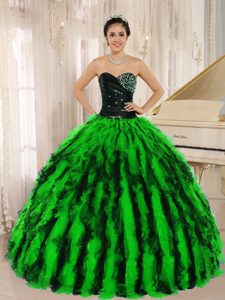 Beaded and Ruffled Organza Best Seller Quinceanera Gown in Multi-color