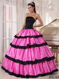 Floor-length for Rose Pink and Black Strapless Taffeta Quinceanera Dresses