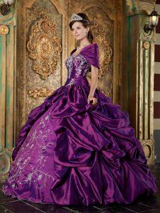 Wrap for Purple Strapless Taffeta Embroidery Sweet 15 Dresses Custom Made