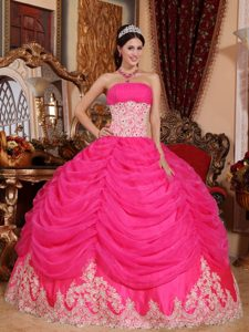 Layered Ruffles for Strapless Beading Organza Hot Pink Quinceanera Dress