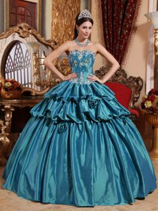Ball Gown Sweetheart Taffeta Teal Quinceanera Dress with White Appliques