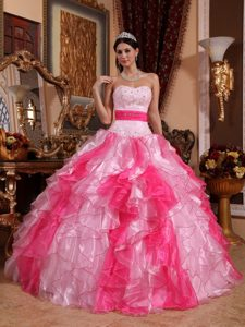 Multi-colored Organza Beaded Ruched Quinceanera Dress with Ruffles