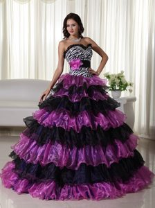 Fashionable Organza Beaded Quinceanera Gown Dresses with Ruffles