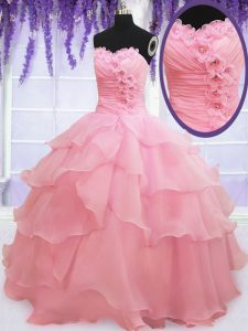 Most Popular Baby Pink Lace Up Sweet 16 Dress Beading and Hand Made Flower Sleeveless Floor Length