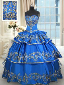Inexpensive Ruffled Blue Sleeveless Taffeta Lace Up Quinceanera Gown for Military Ball and Sweet 16 and Quinceanera