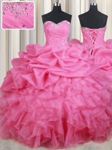 Rose Pink Sweetheart Lace Up Beading and Ruffles and Pick Ups Sweet 16 Dresses Sleeveless