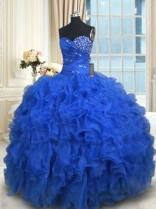 Floor Length Ball Gowns Sleeveless Royal Blue Sweet 16 Dress Lace Up