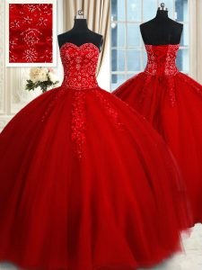 Glorious Floor Length Ball Gowns Sleeveless Red Ball Gown Prom Dress Lace Up