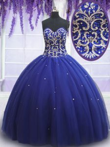 Sweetheart Sleeveless Quinceanera Gown Beading and Sequins Royal Blue Tulle