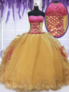 Sexy Gold Lace Up Strapless Beading and Lace and Ruffles Quinceanera Dresses Organza and Taffeta Sleeveless