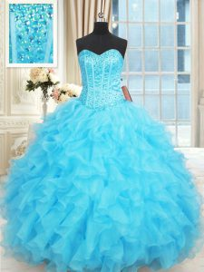 Free and Easy Sleeveless Lace Up Floor Length Beading and Ruffles and Ruffled Layers Quince Ball Gowns