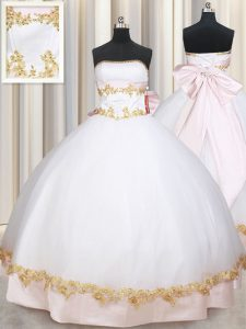 Popular Beading and Appliques and Bowknot 15th Birthday Dress White Lace Up Sleeveless Floor Length