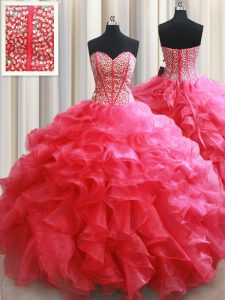 Lovely Sweetheart Sleeveless 15th Birthday Dress Floor Length Beading and Ruffles Coral Red Organza