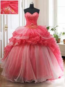 Exceptional With Train Lace Up Quinceanera Dress White And Red for Military Ball and Sweet 16 and Quinceanera with Beading and Ruffled Layers Brush Train