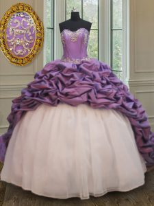 Smart Organza and Taffeta Sweetheart Sleeveless Court Train Lace Up Beading and Pick Ups Vestidos de Quinceanera in White And Purple