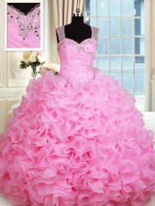 Straps Floor Length Rose Pink Vestidos de Quinceanera Organza Sleeveless Beading and Ruffles