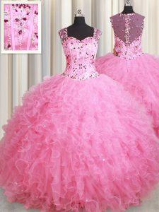 Ball Gowns 15th Birthday Dress Rose Pink Straps Tulle Sleeveless Floor Length Zipper