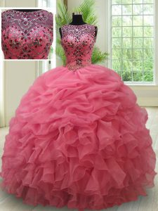 Scoop See Through Sleeveless Floor Length Beading and Ruffles and Pick Ups Lace Up Vestidos de Quinceanera with Pink