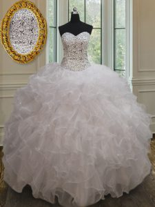 Affordable Sleeveless Floor Length Beading and Ruffles Lace Up Sweet 16 Dress with White
