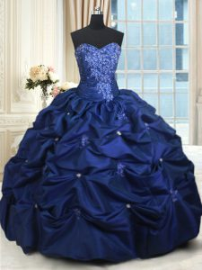 Sophisticated Appliques and Pick Ups Quince Ball Gowns Navy Blue Lace Up Sleeveless Floor Length