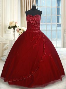 Wine Red Sleeveless Floor Length Beading and Appliques Lace Up Quinceanera Gowns