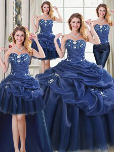 Spectacular Four Piece Navy Blue Sleeveless Organza Lace Up Quinceanera Dresses for Military Ball and Sweet 16 and Quinceanera