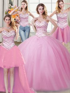 Noble Four Piece Rose Pink Sweetheart Neckline Beading Quinceanera Dress Sleeveless Lace Up