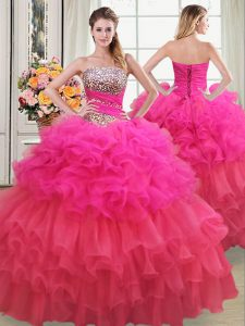 Custom Made Sequins Ruffled Ball Gowns Sweet 16 Quinceanera Dress Multi-color Strapless Organza Sleeveless Floor Length Lace Up