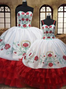 Decent Sleeveless Lace Up Floor Length Embroidery and Ruffled Layers Sweet 16 Quinceanera Dress
