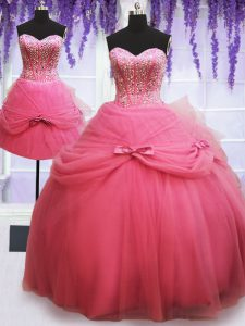 Three Piece Rose Pink Lace Up Sweet 16 Quinceanera Dress Beading and Bowknot Sleeveless Floor Length