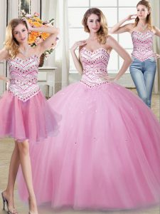 Three Piece Floor Length Lace Up Quinceanera Dress Rose Pink for Military Ball and Sweet 16 and Quinceanera with Beading