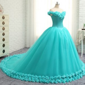 Lovely Aqua Blue Lace Up Off The Shoulder Hand Made Flower 15th Birthday Dress Tulle Cap Sleeves Court Train