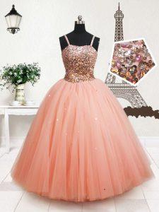 Straps Peach Zipper Girls Pageant Dresses Beading and Sequins Sleeveless Floor Length
